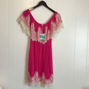 Umgee • NWT Pink Lace Off the Shoulder Dress